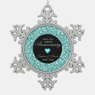 青緑色のダイヤモンドのグリッターの第10記念日 スノーフレークピューターオーナメント