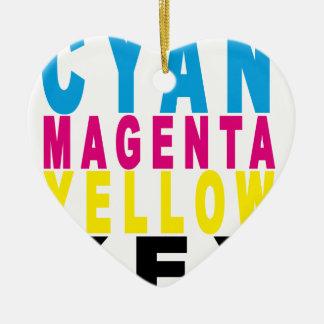 青緑色のマゼンタの黄色の鍵のTシャツ.png セラミックオーナメント