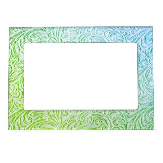 青緑色のヴィンテージの花のScrollworkのグラフィック マグネットフレーム