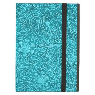 青緑色の擬似レザールックのレトロの花柄 iPad AIRケース