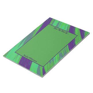 青緑色の棒の抽象芸術 ノートパッド