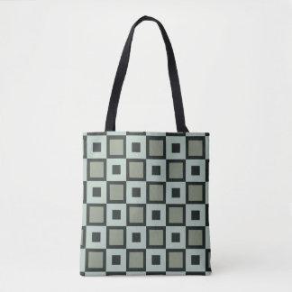 青緑色の正方形パターントートバック トートバッグ