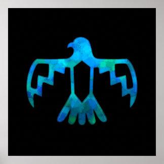 青緑色の雷鳥ポスター ポスター