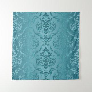 青緑色の青緑のヴィンテージのダマスク織のプリントの壁のタペストリー タペストリー