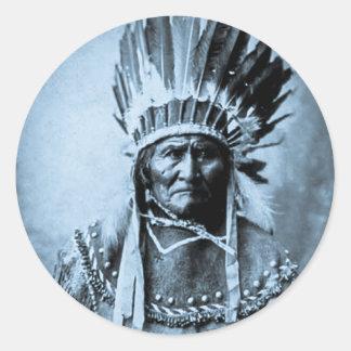 青緑色ヘッド服のヴィンテージのGeronimo ラウンドシール