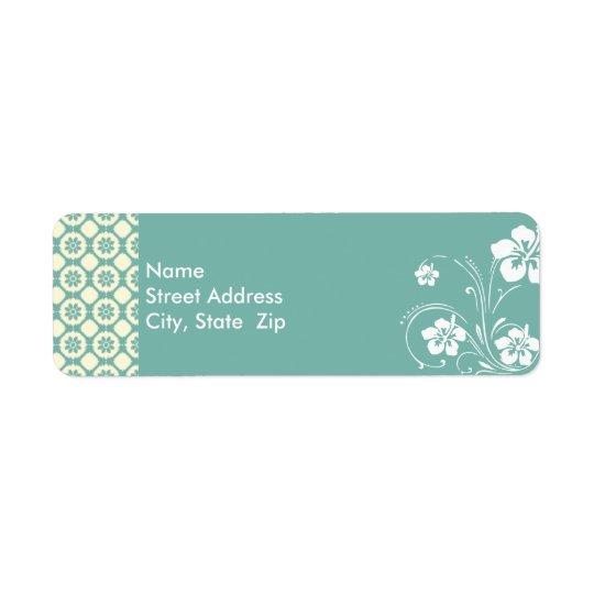 青緑色及びクリーム色の花柄; アロハ 返信用宛名ラベル