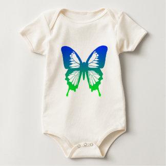 青緑色蝶- ベビーボディスーツ