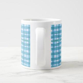 青緑色/青(2)大きいマグのジャンボマグを市松模様にしました ジャンボコーヒーマグカップ