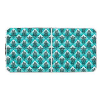 青緑色Shamanicのウミガメパターン- ビアポンテーブル