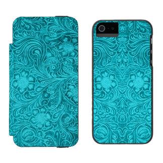青緑花パターンスエードの一見 iPhone SE/5/5sウォレットケース