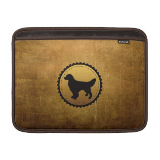 青銅のゴールデン・リトリーバー犬の円形浮彫り MacBook スリーブ