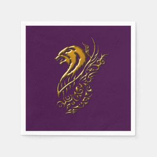 青銅色のオオカミの紫色のナプキン スタンダードカクテルナプキン