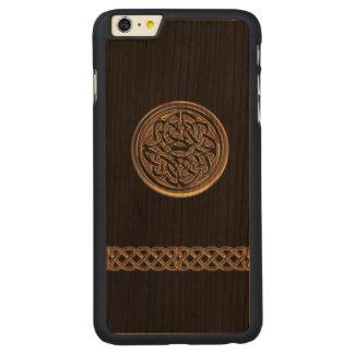 青銅色のケルト結び目模様の黒の木製のiPhone 6のプラスの場合 CarvedチェリーiPhone 6 Plusスリムケース