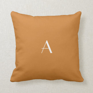 青銅色のブラウンの枕w白のモノグラム クッション