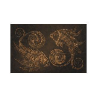 青銅色のペイズリーの魚 キャンバスプリント