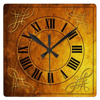 青銅色の効果はローマ数字の時計に直面しました スクエア壁時計