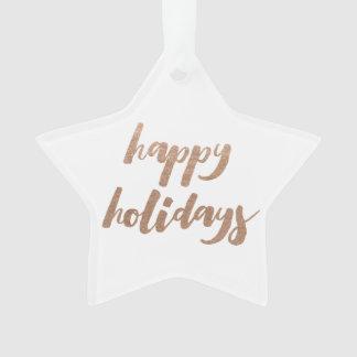 青銅色の幸せな休日の原稿のクリスマスの木のオーナメント オーナメント