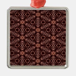 青銅色の目の錯覚 シルバーカラー正方形オーナメント