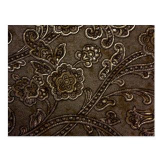 青銅色の花のレリーフ、浮き彫り ポストカード