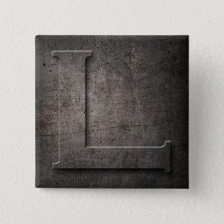 青銅色の黒い金属Lモノグラムの正方形ボタン 缶バッジ