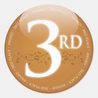 青銅色の3位の(第3)賞 ラウンドシール