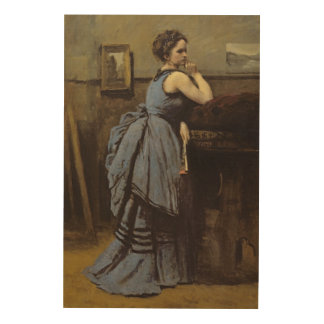 青1874年の女性 ウッドウォールアート