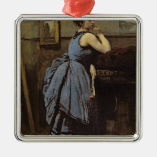 青1874年の女性 シルバーカラー正方形オーナメント