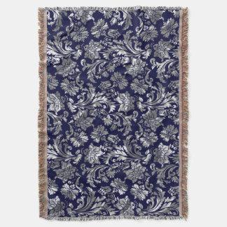 青2および金属銀製のヴィンテージの花柄のダマスク織 スローブランケット