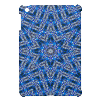 青8ポイント星の幾何学的な抽象デザイン iPad MINIケース