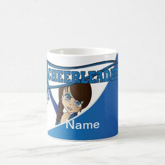 青|のかわいらしいチアリーダーの女の子は個人化なります コーヒーマグカップ