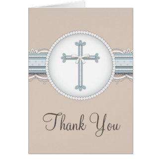 青|のベージュ宗教お祝いのサンキューカード カード