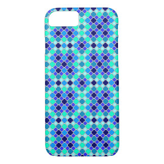 青、ティール(緑がかった色)及び水のクローバーのミニチュア陰 iPhone 8/7ケース