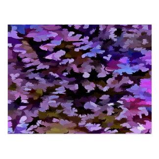 青、ピンクおよびシエナ土の群葉の抽象芸術 ポストカード