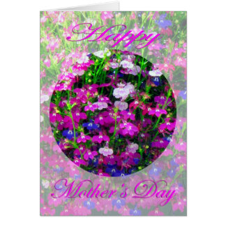 青、ピンクおよび白の母の日の花束 カード
