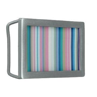 青、ピンク、灰色のストライプ 長方形ベルトバックル