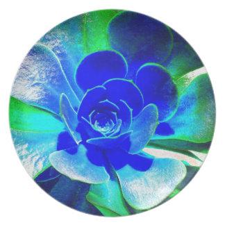 青-ファンキーな花の花びらの色相 プレート