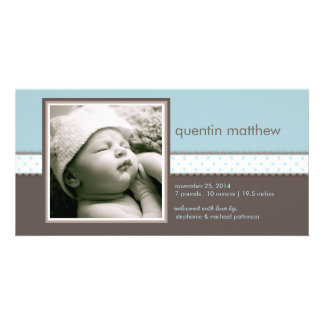 青|ブラウンの甘い男の赤ちゃんの誕生の発表 写真カードテンプレート