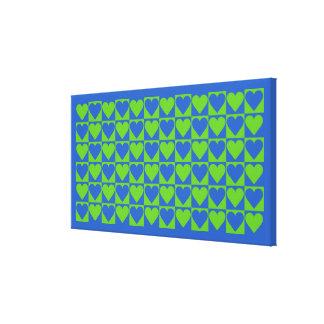 青/ライムのハートパターンキャンバスのプリント キャンバスプリント