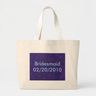 青、新婦付添人、キャンバスの白い花輪は袋に入れます ラージトートバッグ