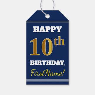 青、模造のな金ゴールドの第10誕生日 + 名前をカスタムする ギフトタグ