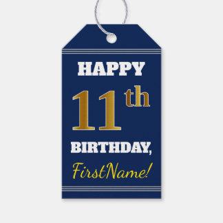 青、模造のな金ゴールドの第11誕生日 + 名前をカスタムする ギフトタグ
