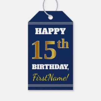 青、模造のな金ゴールドの第15誕生日 + 名前をカスタムする ギフトタグ