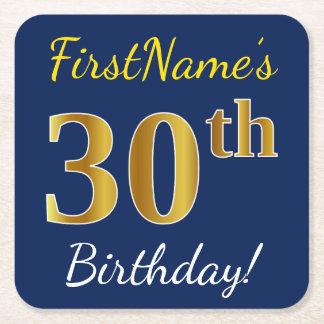 青、模造のな金ゴールドの第30誕生日 + 名前をカスタムする スクエアペーパーコースター