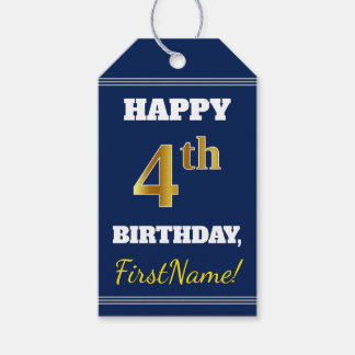 青、模造のな金ゴールドの第4誕生日 + 名前をカスタムする ギフトタグ
