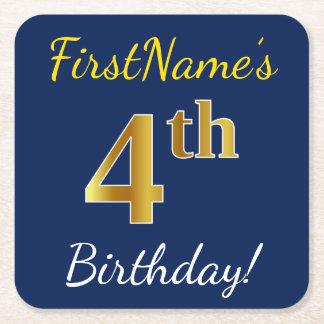 青、模造のな金ゴールドの第4誕生日 + 名前をカスタムする スクエアペーパーコースター