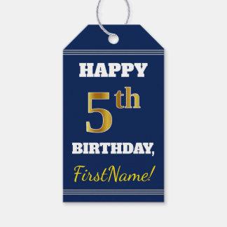 青、模造のな金ゴールドの第5誕生日 + 名前をカスタムする ギフトタグ