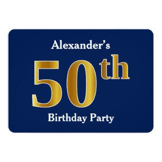 青、模造のな金ゴールドの第50誕生会 + 名前をカスタムする カード