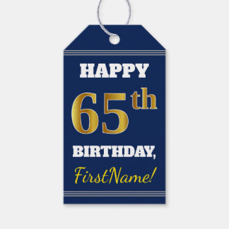 青、模造のな金ゴールドの第65誕生日 + 名前をカスタムする ギフトタグ