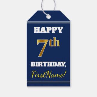 青、模造のな金ゴールドの第7誕生日 + 名前をカスタムする ギフトタグ