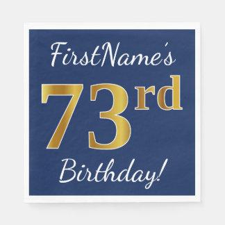 青、模造のな金ゴールドの第73誕生日 + 名前をカスタムする スタンダードランチョンナプキン